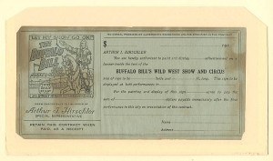 Buffalo Bill's Wild West Show and Circus contract - SOLD