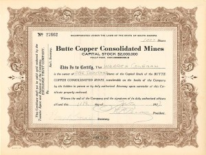 Butte Copper Consolidated Mines