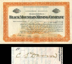 Black Mountain Mining Company Issued to and Signed by Clarence S. Darrow
