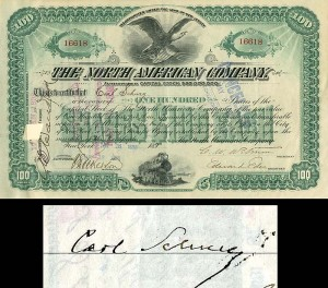 North American Company signed by Carl Schurz - Stock Certificate - SOLD