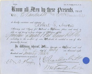 "Document signed by ""Commodore"", Cornelius, and Wm. H. Vanderbilt - SOLD"