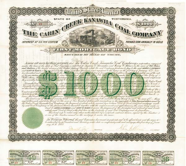 Cabin Creek Kanawha Coal Company - $1000 Bond