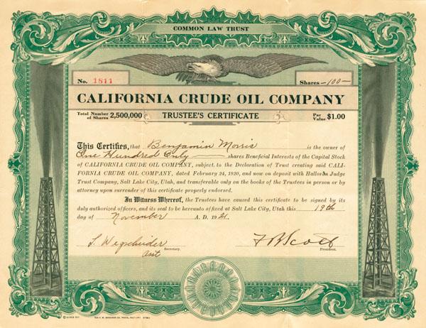 California Crude Oil Company - Stock Certificate - SOLD