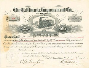 California Improvement Company of Illinois - Stock Certificate - SOLD