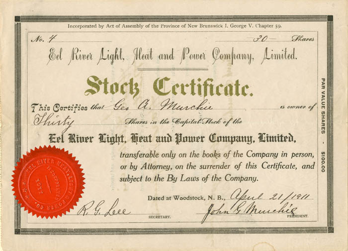 Eel River Light, Heat and Power Company, Limited - Stock Certificate