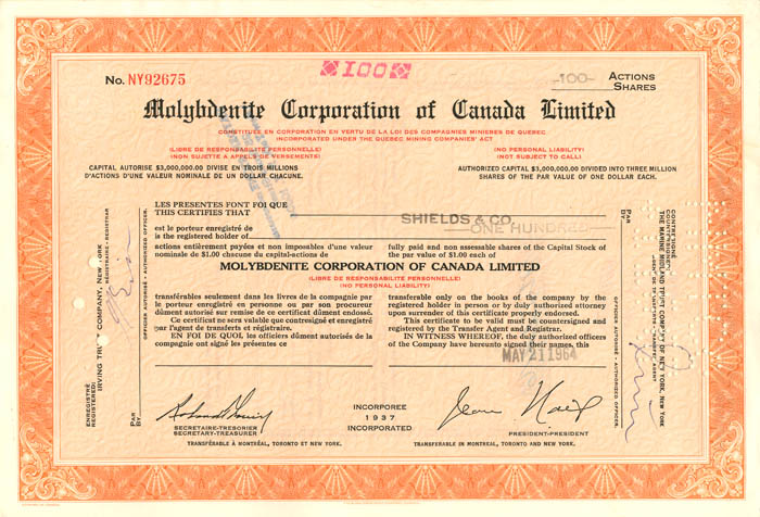 Molybdenite Corporation of Canada Limited - Stock Certificate