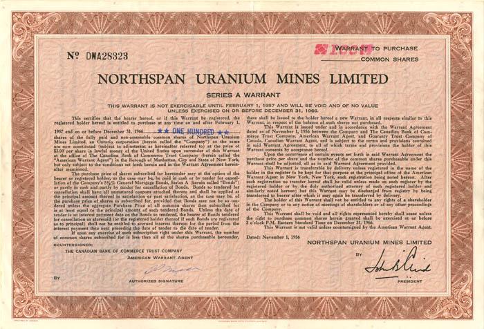 Northspan Uranium Mines Limited - Stock Certificate
