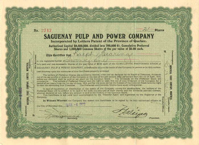 Saguenay Pulp and Power Company - Stock Certificate