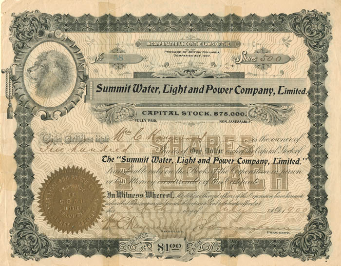 Summit Water, Light and Power Company, Limited