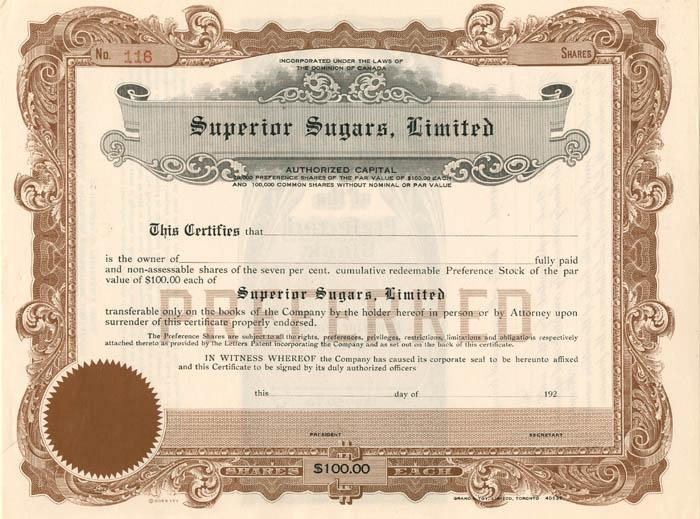 Superior Sugars, Limited