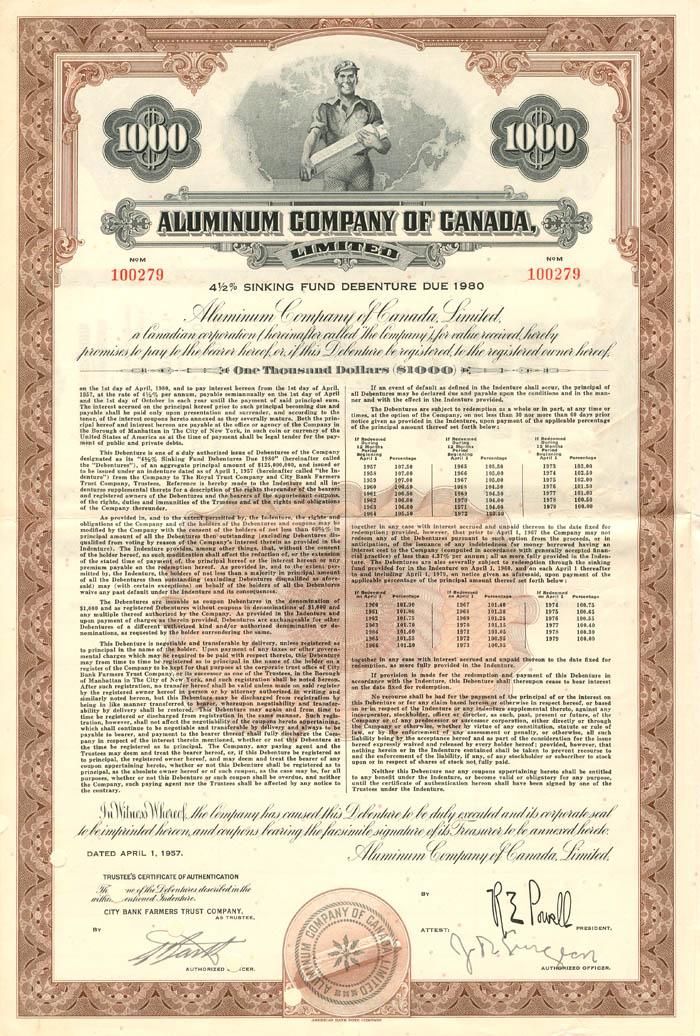 Aluminum Company of Canada, Limited - $1,000 Bond
