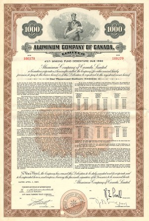 Aluminum Company of Canada, Limited - $1,000 Bond