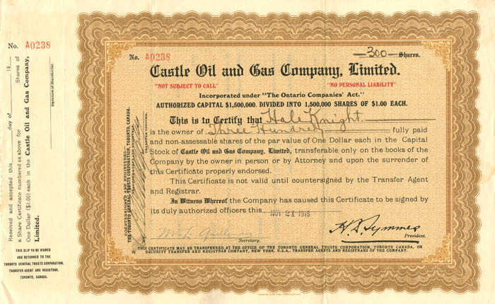 Castle Oil and Gas Company, Limited