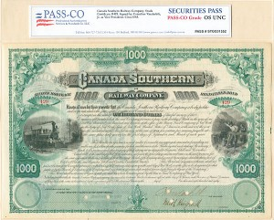 Canada Southern Railway - Stock Certificate