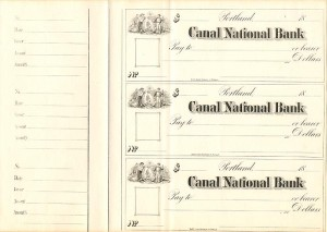 Canal National Bank Sheet of 3 Checks - SOLD