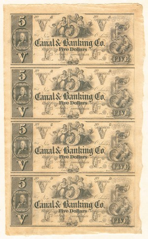 New Orleans Canal & Banking Company Uncut Obsolete Sheet - Broken Bank Notes
