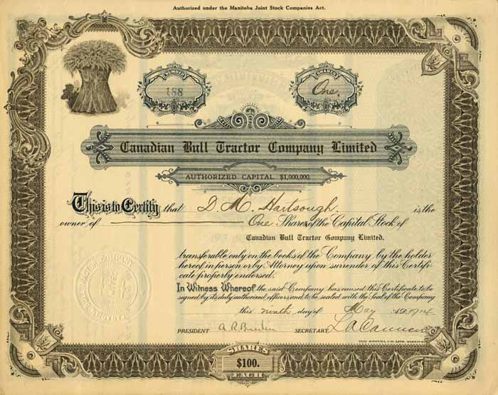 Canadian Bull Tractor Company Limited - Stock Certificate