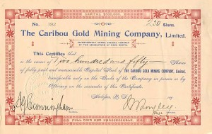 Caribou Gold Mining Company, Limited - SOLD