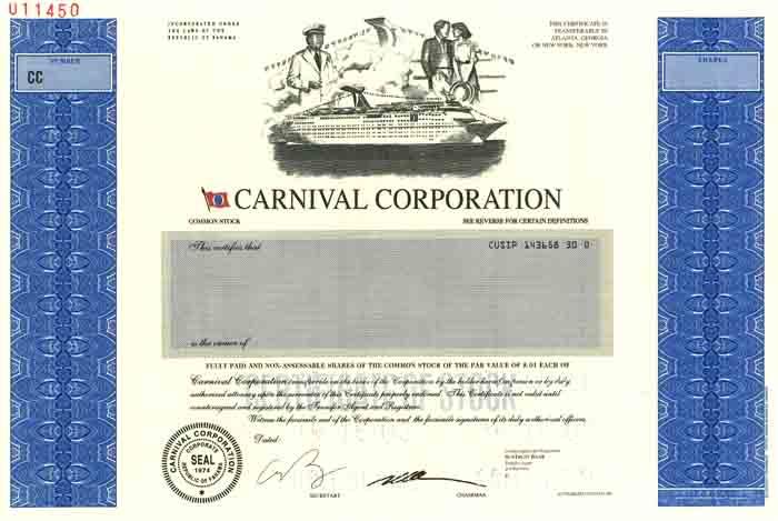 Carnival Corporation - Stock Certificate