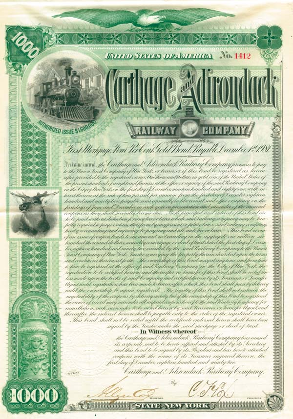 Carthage and Adirondack Railway - Bond
