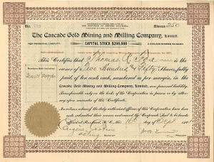Cascade Gold Mining and Milling Company, Limited