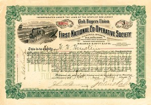 Cash Buyers Union, First National Co-Operative Society - Stock Certificate