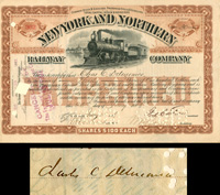 New York and Northern Railway Company issued to Chas C. Delmonico - Stock Certificate