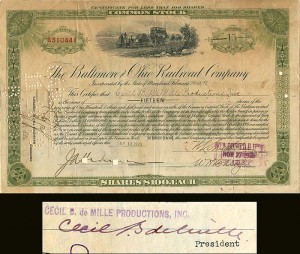 Baltimore and Ohio Railroad Company signed by Cecil B. Demille