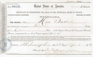Certificate of Subscription for Stock of the Centennial Board of Finance