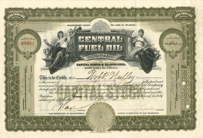 Central Fuel Oil Company - Stock Certificate