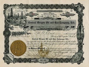 Central Oregon Oil and Gas Company, Ltd. - Stock Certificate