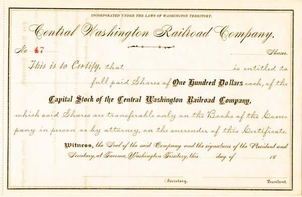 Central Washington Railroad - Stock Certificate