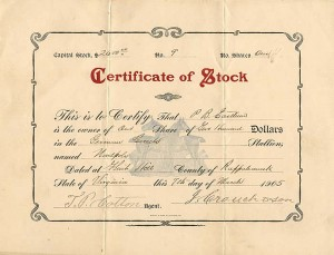 Certificate of Stock