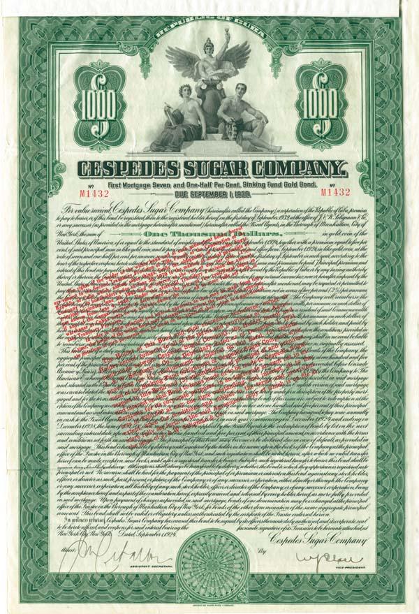 Cespedes Sugar Company - $1,000