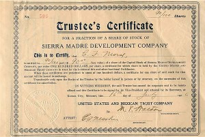 Sierra Madre Development Company signed twice by C. F. Morse