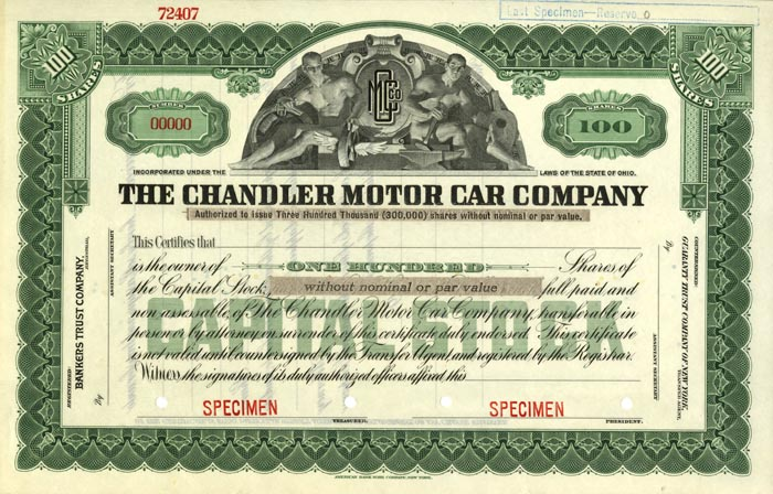 Chandler Motor Car Company - Specimen
