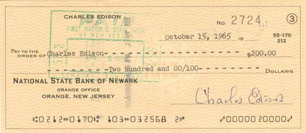 Charles Edison signed Check