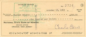 Charles Edison signed Check