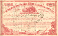 Charles Butler signed St. Louis, Alton and Terre Haute Railroad Company - Stock Certificate