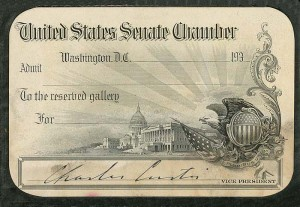 Card signed by Charles Curtis