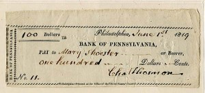 Charles Thomson signed check - SOLD