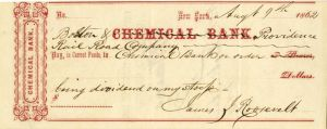 Chemical Bank Check Signed by James J. Roosevelt - Grandfather of Theodore Roosevelt