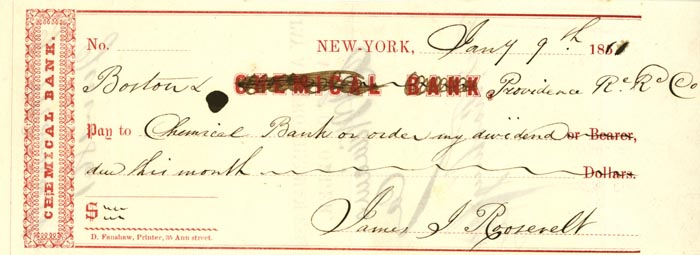 Chemical Bank Check Signed by James J. Roosevelt - Grandfather of Theodore Roosevelt - SOLD