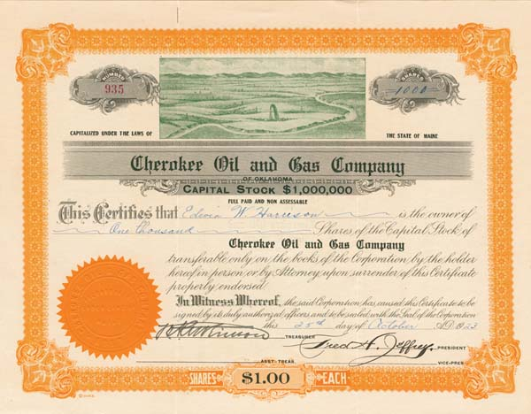 Cherokee Oil & Gas Company of Oklahoma - Stock Certificate - SOLD