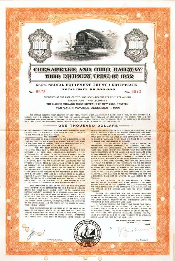Chesapeake and Ohio Railway - $1,000 Bond