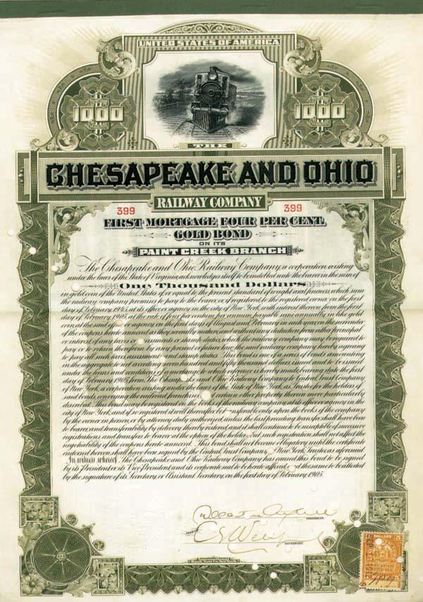 Chesapeake and Ohio Railway Company - $1,000 Bond
