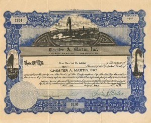 Chester A. Martin, Inc. - Stock Certificate