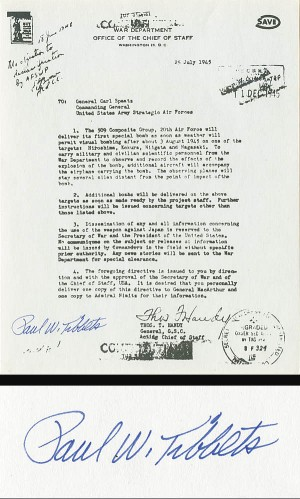 Gen. Paul Tibbets War Department Letter - SOLD