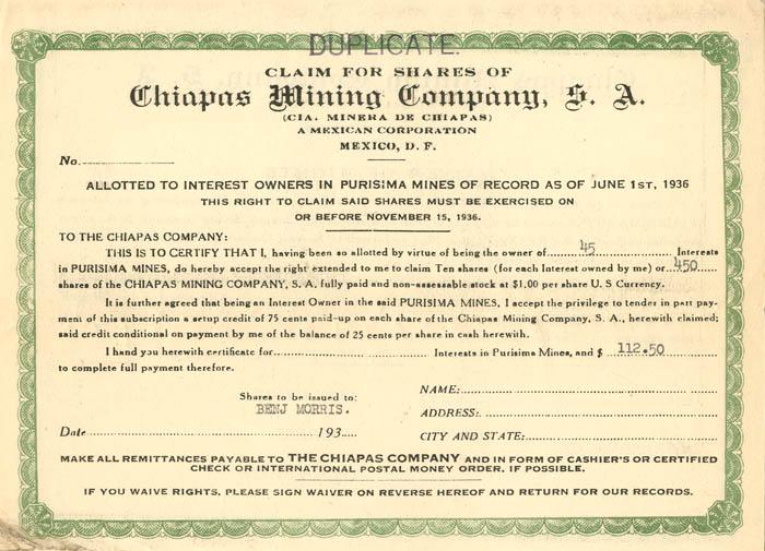 Chiapas Mining Company, S.A.