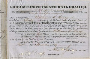 Chicago and Rock Island Railroad Co. - SOLD